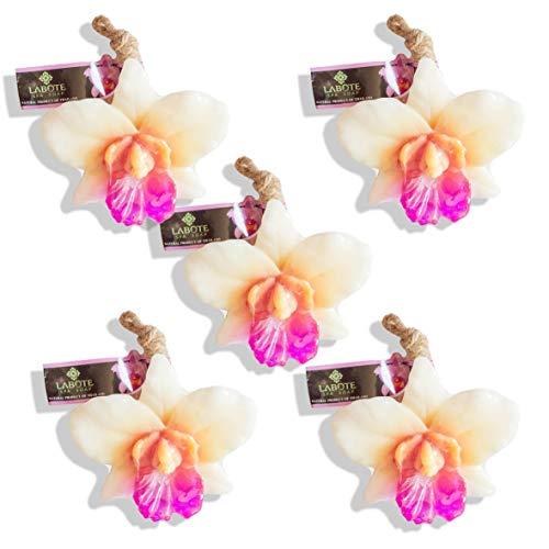 LABOTE Sapone naturale naturale tailandese fatto a mano, orchidea con profumo tipico, 5 pezzi
