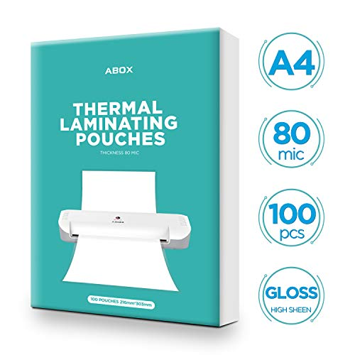 ABOX Pouches per Plastificatrici a Caldo, Formato A4, 80 Micron, Confezione da 100 Pezzi, Fogli Sacchetti Laminati Buste per Ufficio