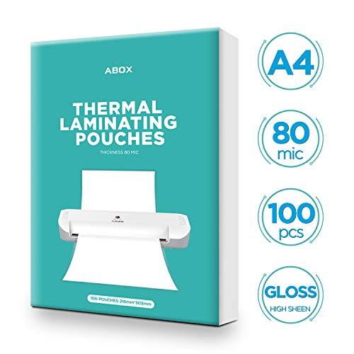 ABOX Laminierfolien A4, 100 Stück 80 Mikron DIN A4