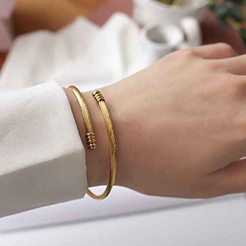 YJZW Simple Cuff Bracelet 18k Gold Plated Fine Bracelets Fashion Jewelry Bangle