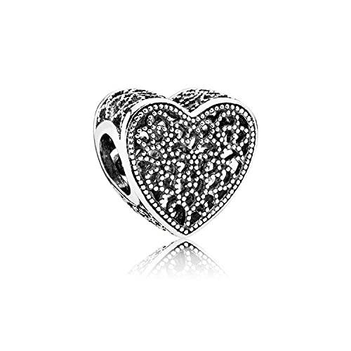 Pandora 925 Colgante de plata esterlina Diy CodeMonkey Romántico Real calado You Me Flor Hoja Beads fit Charm Bracelet Bangle Jewelry C