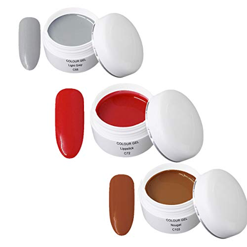 Gel UV Coloré Set N - Nail Art Set 3 x 5ml - 1x 5ml UV Colour Gel C055 Light Grey 1x 5ml UV Colour Gel C072 Lipstick 1x 5ml UV Colour Gel C103 Nougat