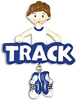 Grantwood Technology Personalized Christmas Ornaments Sports-Track-BOY, Track and Field Ornament, Personalized Track Ornament, Personalized by Santa