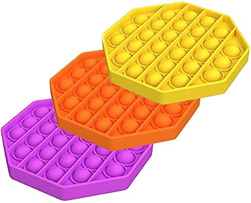 ZNNCO 3PC Push pop pop Bubble Sensory Fidget Toy Autism Special Needs Stress Reliever,Squeeze Sensory Toy, for Kids, Family,and Friends (Yellow+Orange+Purple)