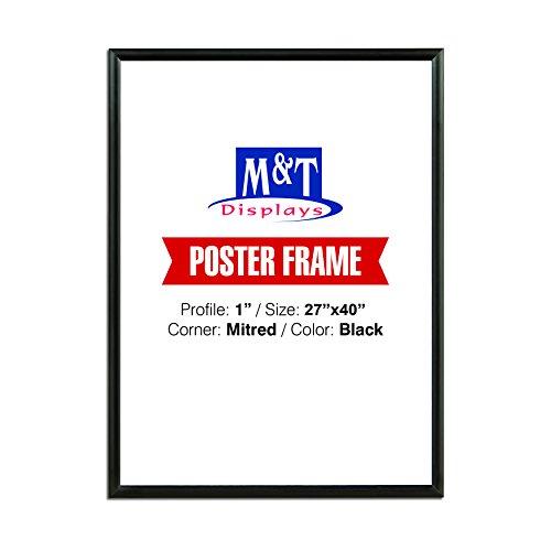 """M&T Displays Snap Frame 27X40 Poster Size 1"""" Black Color Profile, Mitered Corner"""