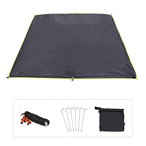 Azarxis Toldo Impermeable Ligero Lona de Tiendas de Campaña Alfombras para Vajilla de Exterior y Picnic Playa (Negro, M - 180 x 220 cm)
