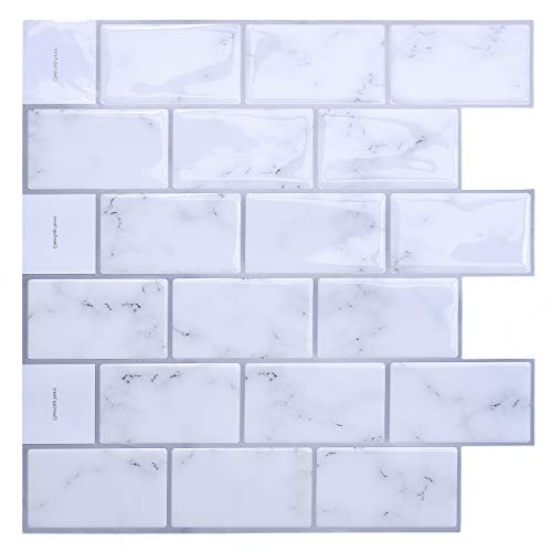 """Uoisaiko Peel and Stick Tile Backsplash for Kitchen 12"""" x 12"""", 4 Sheets 3D Decorative Vinyl Subway Wall Tile Stickers for Bathroom"""