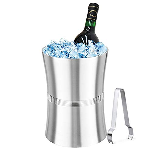 QIQIZHANG De Acero Inoxidable de Doble Capa Barril de Vino, Cubos de Hielo del Vino del Metal y Champagne Chiller con Pinza Libre de Hielo (Size : 3L)