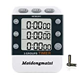 Timer, Kitchen Timer, Digital Kitchen Timers, 3 Channels Count UP/Down Timer, Cooking Timer, Stopwatch, Large Display, Adjustable Volume Alarm with Magnetic Back, Stand, Battery Included (White-382)