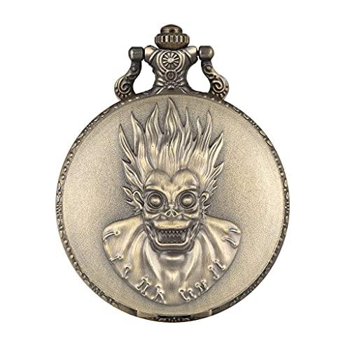SGSG Retro Creativo Mono Rey Ojos Grandes Reloj de Bolsillo de Cuarzo Steampunk Cadena Collar Colgante colección Antigua Regalos para Hombres Mujeres