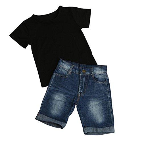 Vibola T-shirt Tops Cotton + Denim Pants 2pcs Clothes Sets Newborn Toddler Baby Boy (Size:3T)