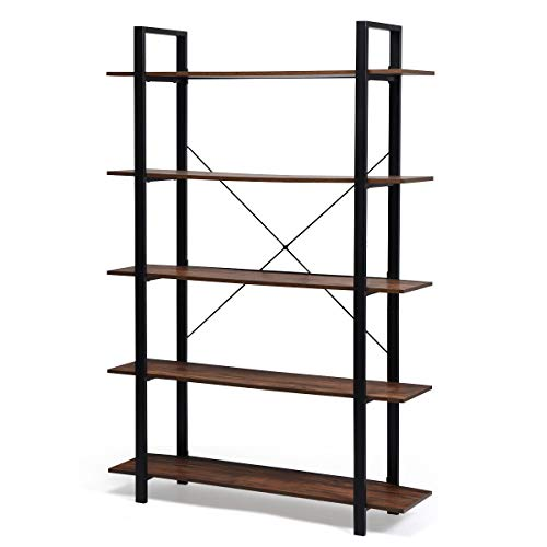 Giantex 5-Tier Bookshelf Industrial Style Bookcase Vintage Wood Bookshelves with Metal Frame, Home and Office Organizer, Storage and Display Rack, Rustic Brown (47''Lx13''Wx 70' H (5-Tier))