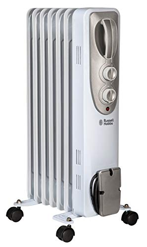 Russell Hobbs RHOFR5001 1.5kw Oil Filled Radiator-7 FIN Heater, 1500 W, White