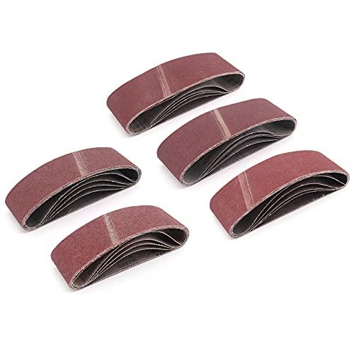 DingGreat 25 Piezas Cinta de Lijado, Bandas de lijado para lijadora, 75 x 533 mm (5 x grano 40/60/80/120/180 cada uno) para para amoladoras de cinta, Papel de Lija, Juego de Correas de Lijado
