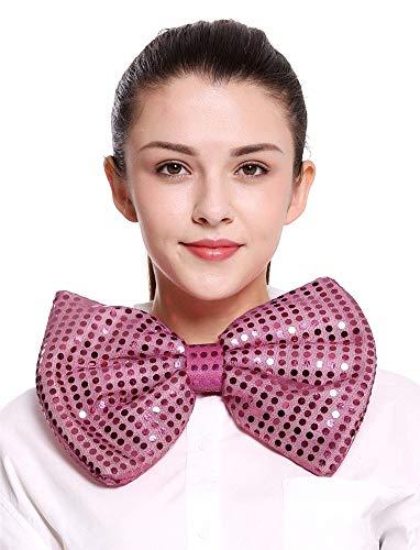 Fioccoit - groot - pailletten - 24 x 18 cm - vermomming - carnaval - halloween - clown - kostuum - accessoires - roze - origineel idee voor een verjaardagscadeau pennywise clown papillon