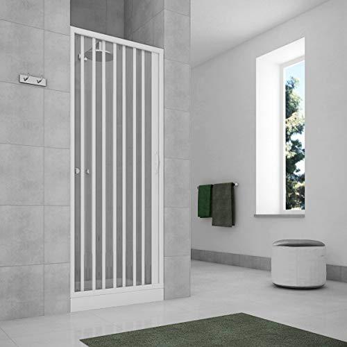 Porta doccia a soffietto per box doccia nicchia 140 cm profilo riducibile fino 60 (140-120X185)