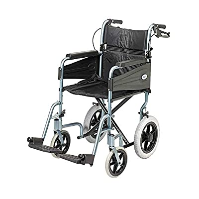 Days Escape Lite Wheelchair, Self Propelled Lightweight Aluminium with Folding Frame, Mobility Aid, Comfy and Sturdy, Portable Transit Travel Chair, Removable Footrests, Narrow, Silver Blue