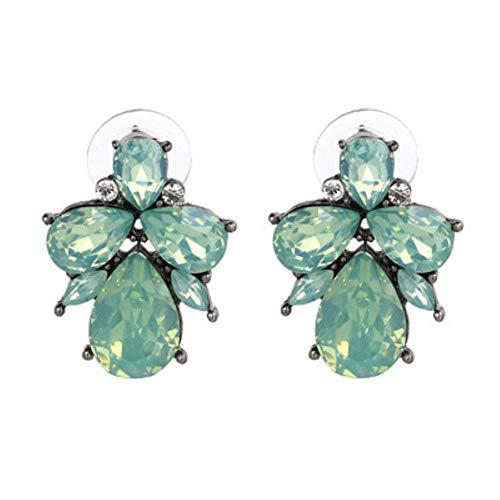 Ltong Fashion Oorbellen Strass Zoet Metaal Met Edelstenen Oorstekers Voor Dames Kristal Oorbellen, Groen