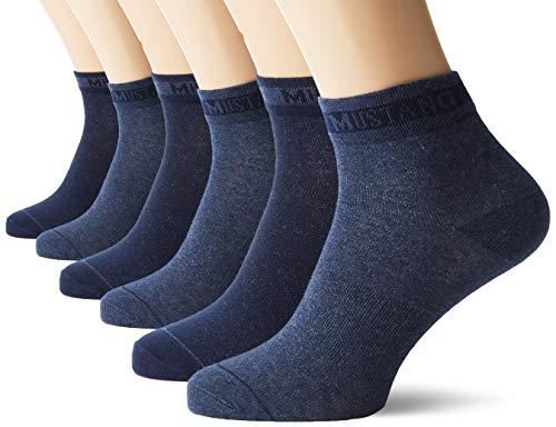 Mustang Socks Herren MU32007000 Füßlinge, Blau (Jeans Mix 5703), (Herstellergröße: 43/46) (6er Pack)