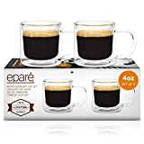 Eparé Retro Espresso Cups - Set of 2 Clear Mugs - 4oz Double Walled Demitasse - Lungo Cappuccino Macciato Shot Glasses