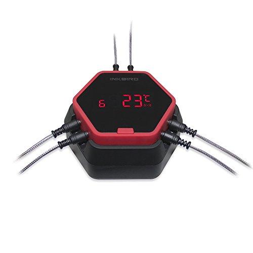 Inkbird IBT-6XS Termometro per Griglia Bluetooth da 150 Piedi con Magnete, Batteria Li 1000mAh e Cavo di Ricarica USB, Timer e Sonde 6 Sonde Termometri per Barbecue