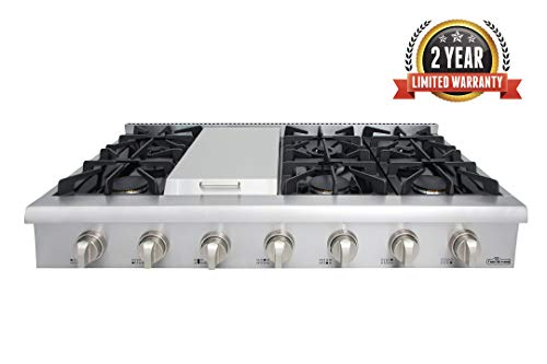 Thor Kitchen 48' Stainless Steel Gas Rangetop Cover Gas Stove Top Cooker Cooktops with with 6 Sealed Burners and 7 Control Knob - HRT4806U (Without LP Conversion Kit)