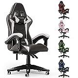 bigzzia Gaming Stuhl aus Kunstleder, Schreibtischstuhl mit Lendenkissen + Kopfstütze Gamer Computer Stuhl Drehstuhl Höhenverstellbar Ergonomisch Bürostuhl, Schwarz-Weiß