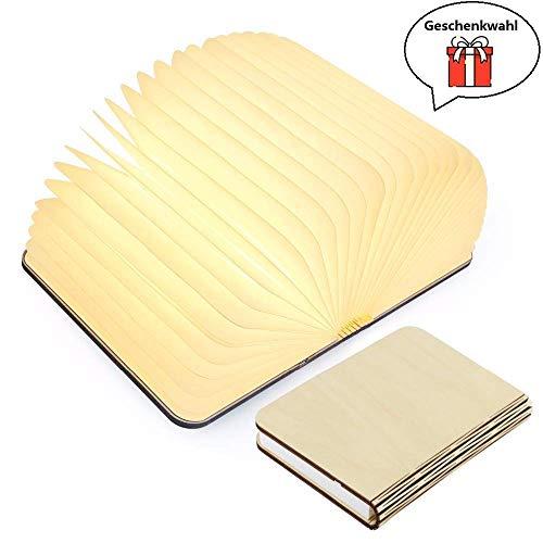 Yuanj Hölzerne faltende Buch-Lampe - magnetisches LED-Licht -dekorative Lichter, Schreibtisch-Lampe mit Akku 2500 mAh - warmes licht-hell genug für das Ablesen - Ideal für Geschenk