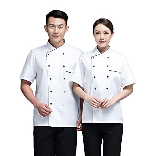QQYXCA Chef Uniforme Manga Corta Chaqueta de Chef para Hombre Mujere Unisexo,Chef Chaqueta Personalizada Cocina con Malla Transpirable Vestir Ropa de Trabajo Uniforme,Blanco,3XL