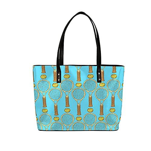 Bolsa de cuero para mujer retro pelota de tenis raqueta impermeable bolsa de hombro gran capacidad PU bolso grande para trabajo escolar regalo compras