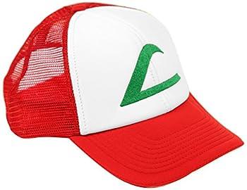 Ash Ketchum Cosplay Hat Mesh Cap w/Plastic Snap Closure - Adult Size Red