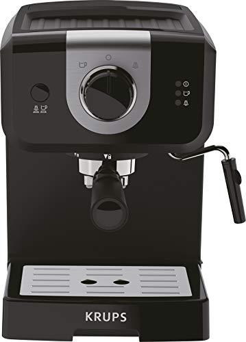 Krups Opio XP320810 Koffiezetapparaat, 15 bar druk, kopjesverwarmer en melkopschuimer, draaiknop, zwart/zilver