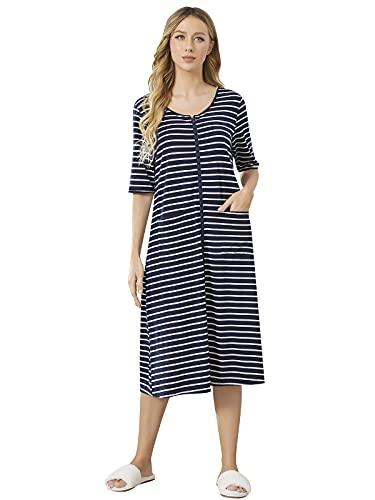 pigiama donna zip davanti SUNNYME - Vestaglia da notte estiva con cerniera sul davanti Marina Militare M