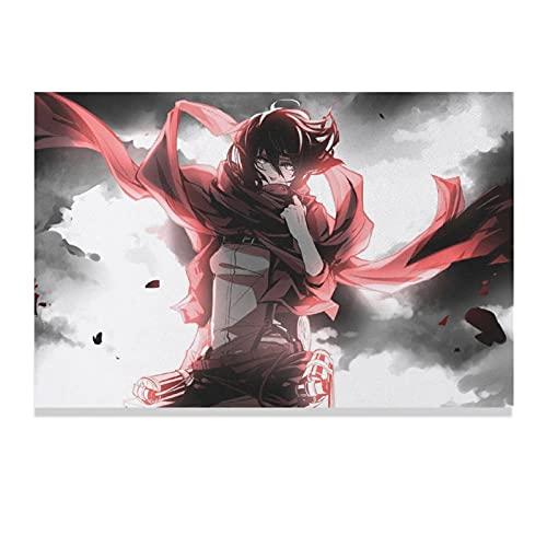 Póster de anime japonés de Ataque a los Titanes (26) lienzo para pared, decoración de la sala de estar, dormitorio, estilo Unframe-style120 × 30 pulgadas (50 × 75 cm)