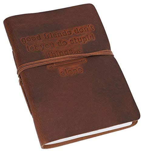 Gusti Notitieboek leer - dagboek reisdagboek Bullet Journal schetsboek blanco klassiek leer DIN A5 bruin Friends - band
