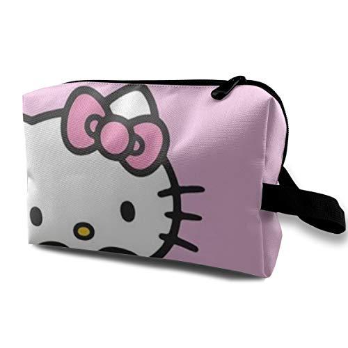 LIUYAN - Beauty case da viaggio Hello Kitty Love Dounts, borsa da spiaggia per donne e ragazze