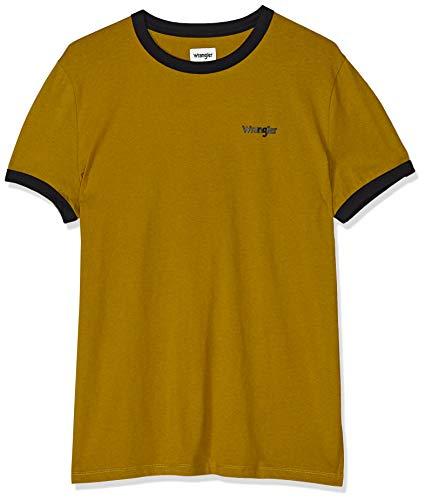 Wrangler Mens SS Ringer Tee T-Shirt, Golden Brown, XX-Large