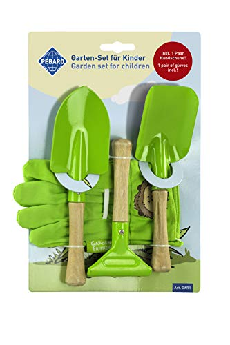 Pebaro GAR1 Garten-Set für Kinder, 2 Schaufeln, 1 Harke, 1 Paar Handschuhe, für Gartenarbeit