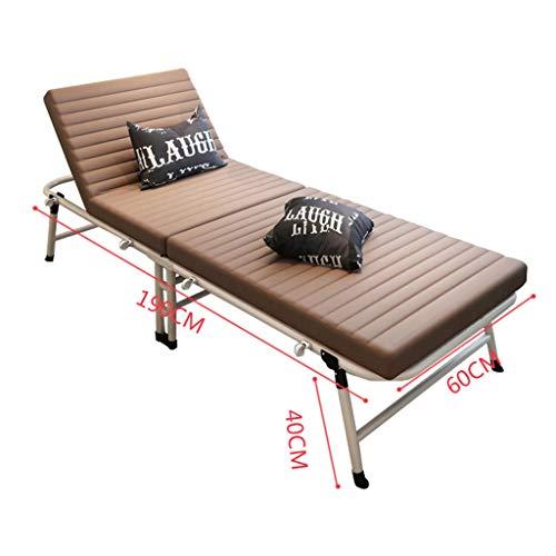 ZEQUAN Lit Simple Bureau lit Pliant Balcon inclinable Plage Pause déjeuner Chaise Longue (Color : Brown)