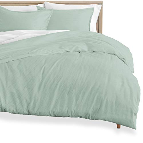 Bare Home Washed Duvet Cover and Sham Set - Full Size - Premium 1800 Ultra-Soft Brushed Microfiber - Hypoallergenic, Easy Care, Stain Resistant (Full, Sandwashed Slate)