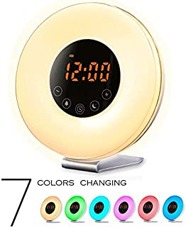 Sunrise Wake Up Light Digital Alarm Clock with 7 Natural Sounds Sunrise & Sunset Simulation, FM Radio, Touch Control, Snooze Function and USB Charger
