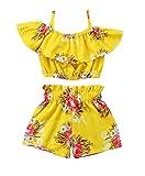 Passendes Set für mädchen - Outfit für mädchen - Strand - top - Shirt - Kurze Shorts - gelb - Blumen - größe 90-1/2 Jahre - mädchenbekleidung