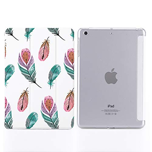 YCCY Feather Pad Case Cover for iPad Air White Case Lovely Anti-Scratch Shockproof Lightweight Smart Trifold Stand Cover Soft TPU Cover for iPad Air