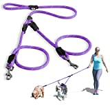 Pawtitas Double Leash for Two Dogs Great for Walking & Training Comfortable Shock Absorbing Reflective Pet Rope Leash for 2 Dogs 6ft - Medium/Large - Purple