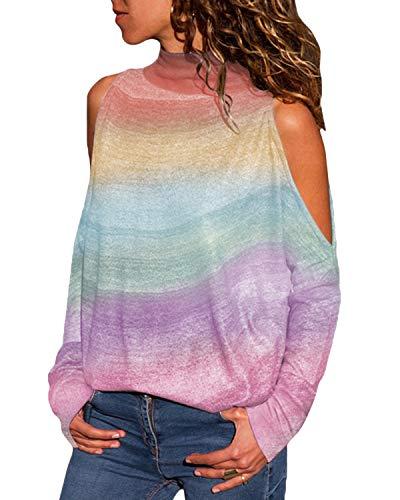 Yoins - Blusas holgadas informales para mujer, de cuello alto, manga larga, estampados a rayas geométricas, hombros descubiertos