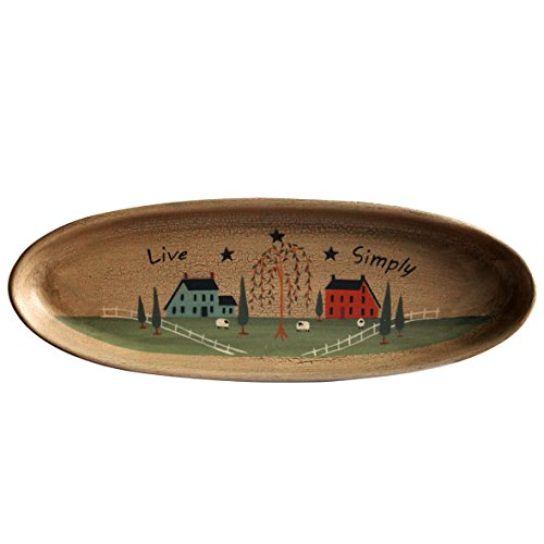 CVHOMEDECO. Primitive Rustic House Willow Tree Sheep Wood Decorative Plate Oval Crackled Display Wooden Plate Home Décor Art  15-1/2 X 5-3/4 Inch