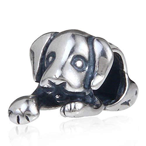 925 Sterling Silber Hund Charm Tier Charm Glücksbringer Geburtstag Charm für Pandora Bettelarmband (Hund)