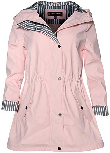 Urban Republic Women's Lightweight Hooded Raincoat Jacket with Cinched Waist, Baby Pink, Size Medium