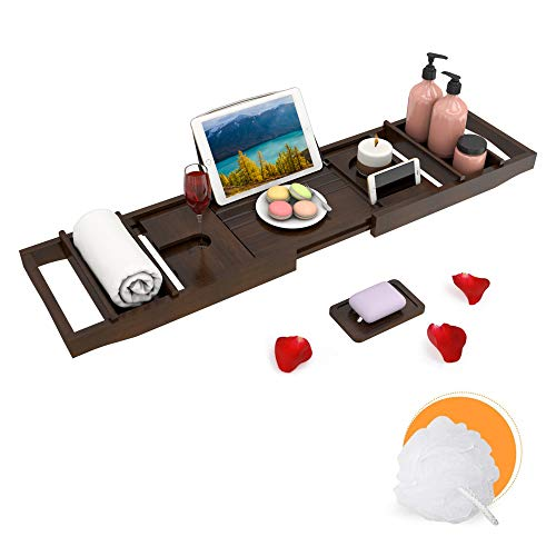 Domax Bathtub Caddy Tray Expandable Bamboo Bath Tub Tray for Luxury Bath with Book Holder and Free Soap Dish Brown