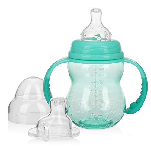 Nuby 3 Stage Tritan Wide Neck Grow with Me No-Spill Bottle to Cup, 8 Oz, Teal